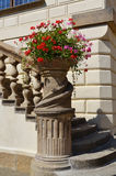Old flower pot as a detail of castle Royalty Free Stock Image
