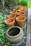 Old flower pots, outdoors Stock Image