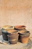 Old flowerpot group. Closeup detail Royalty Free Stock Photos