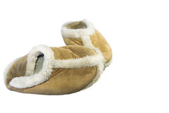 Old fluffy slippers. Cosy and warm fluffy slippers Royalty Free Stock Photos