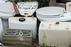 Old flush toilet Stock Photography