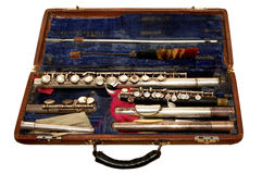 Old flute. In a case against a white background Royalty Free Stock Photo