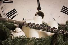 Old flute near a New Year clock. Christmas concept Royalty Free Stock Image