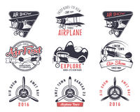 Old fly stamps. Travel or business airplane tour emblems. Biplane academy labels. Retro aerial badges isolated. Pilot. School logo. Plane tee and t-shirt design Stock Image