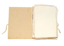 Old folder with papers. Open file with sheets of paper Stock Photos