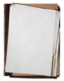 Old folder with stack of old papers. Folder with stack of old papers isolated on white background with clipping path Stock Photo