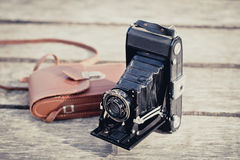Old folding camera Stock Image