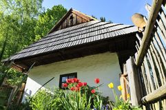 Old Folk House & Tulips Stock Photography