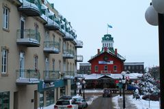 Old Food Market - Marché Saint Hyacinthe Canada. Red building downtown during cold winter Royalty Free Stock Photo