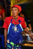 Old Food Vendor at Wat Saket compound. Royalty Free Stock Photos