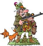 Old foolish hunter. Vector cartoon illustration of a old foolish hunter stock illustration