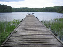 Old foot-bridge. In the lake Stock Photography