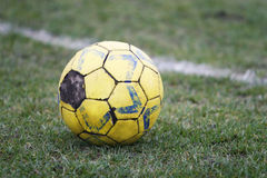 Old Football. On the field royalty free stock image