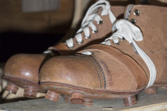 Old Football boots from 1910. Close up royalty free stock photography