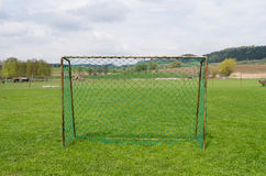 Old football gate in polish village. Old playing field in Poland Stock Photography