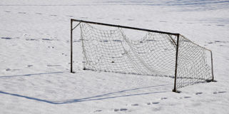 Old Football Goal. In winter on the Playground in Litoměřice, CZE Royalty Free Stock Image