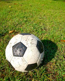 Old football on grass field Stock Photography