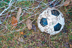 The old football on the grass Royalty Free Stock Photography