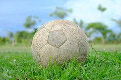 Old football on the green grass Royalty Free Stock Image