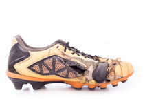 Old football shoes  on white Stock Photos
