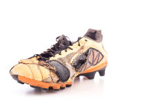 Old football shoes  on white Royalty Free Stock Photography