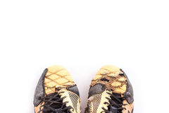 Old football shoes  on white Royalty Free Stock Images