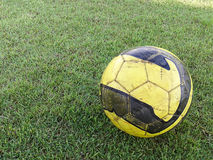 Old football or soccer ball on the grass Royalty Free Stock Image