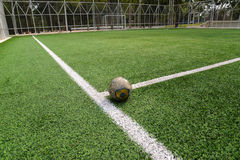 Old Football/soccer on field Royalty Free Stock Photography