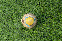 Old Football/soccer on field Royalty Free Stock Images