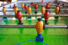 Old football table, soccer table.  stock photo