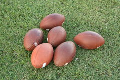 Old footballs Stock Photography