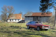 Old ford in backyard. Royalty Free Stock Photos