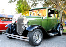 Old Ford Car. The old green Ford car on the street Royalty Free Stock Photo