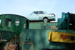 Ford Taunus. An old Ford Taunus standing on a container as a scrap somewhere in Europe Royalty Free Stock Photography