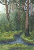 Old forest (Troitsk). Oil painting hand drawn withe old pine forest lighting sunbeams Royalty Free Stock Photography