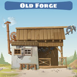 Old forge in the wild West, story series card. Old forge in the wild West, story series vector card Stock Photos