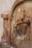 Old forged fountain in Chelva village royalty free stock photography