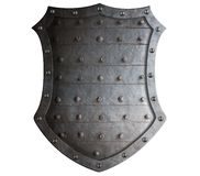 Old forged medieval shield with rough spikes Stock Photos