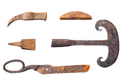 Old forged rural tools on isolated white background. stock images