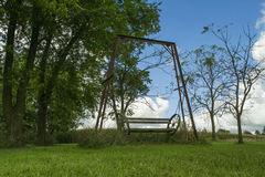 Old Forgotten Swing in Backyard Stock Photos