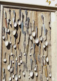 Old fork,knife and spoons on the frame Royalty Free Stock Photos