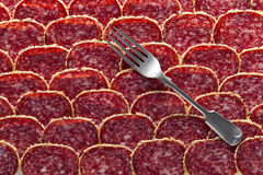 Old fork and salami sausage slices Stock Photos