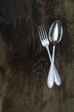 Old fork and spoon Royalty Free Stock Photo