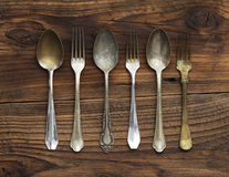 Old forks and spoons Royalty Free Stock Photo