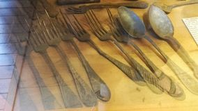 Old forks and spoons Stock Image
