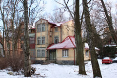 Old former german building in famous russian sea resort Svetlogorsk Rauschen at winter. Royalty Free Stock Photos