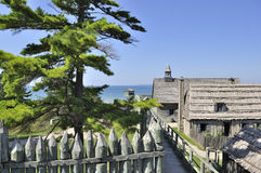 Old Fort. View of Colonial Fort Michilimackinac Royalty Free Stock Photography