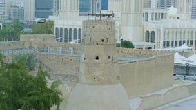 Old Fort al Fahidi, Dubai, UAE. The fortress of al Fahidi, one of the oldest attractions in Dubai, UAE stock footage