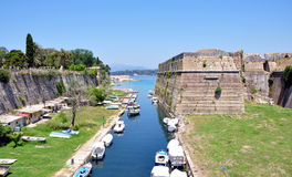 Old Fort and the canal town of Corfu, Greece, Europe. View of the old fort and the canal town of Corfu, Greece, Europe Royalty Free Stock Images