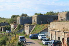Old fort and cars Royalty Free Stock Image